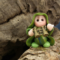 "Tiny Bird Watcher Gnome 'Soll' 1.5"" with binoculars OOAK Sculpt by Ann Galvin"