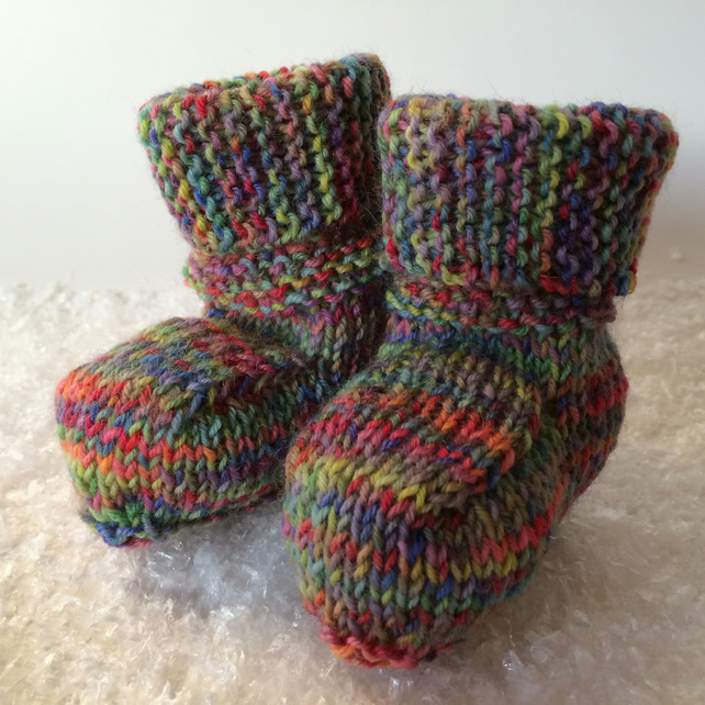 Multicoloured knitted rainbow baby booties, 0-3 months, ugg style