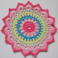 Crochet Colourful Mandala Table Mat