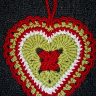 Crochet Christmas Hanging Heart Decoration