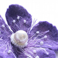 Purple Hand Felted Flower Corsage