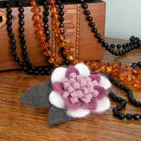 Felted Lotus Flower Corsage