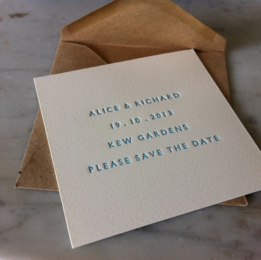 Small Letterpress Wedding Save The Date Cards