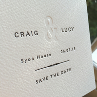 50 x Letterpress Wedding Save The Date Cards