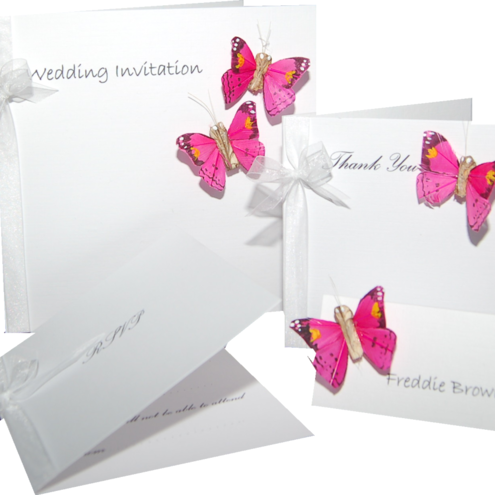 Butterfly Wedding Stationery Sample Pack - includes wedding invitation, place card & RSVP card