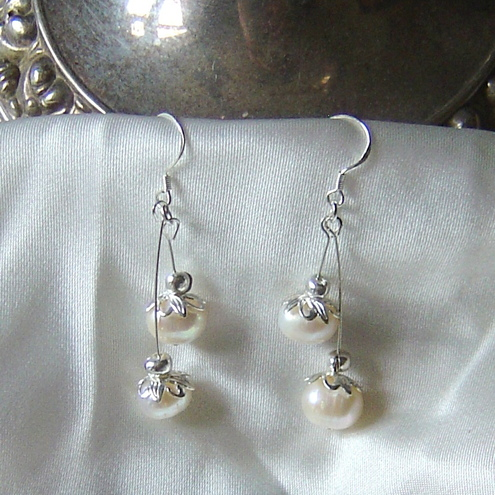 STUNNING FRESHWATER PEARL BRIDAL EARRINGS