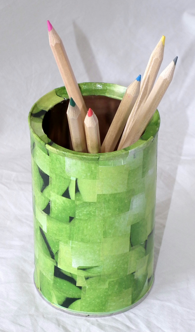 Recycled green decoupage pen and pencil holder. - Folksy