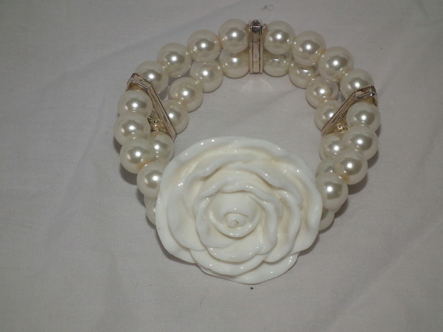 shabby chic bridle white rose and pearl bracelet