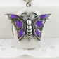 Butterfly Locket, Pearl White With Sparkles, Amethyst Sparkle Wings.Gift For Her