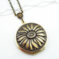 Antiqued Sunflower On Vintage Locket. Gift For Her.