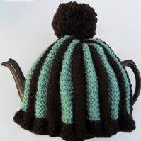 Brown & Mint Knitted Tea Cosy