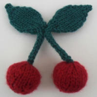 Knitted Cherry Brooch