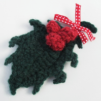 Crochet Holly Brooch