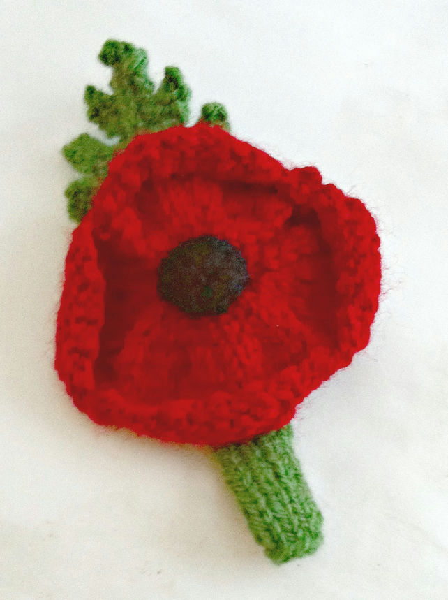 Knitting Pattern For Poppy Brooch : Knitted Poppy Brooch - Folksy