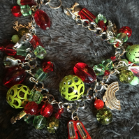 Emerald and Ruby Wizard of Oz inspired charm bracelet