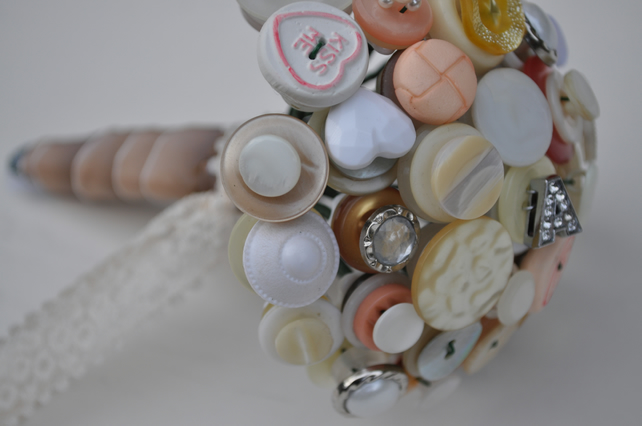 Mini Flower Girl Button Bouquets - Vintage Rosie Bouquet