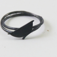 Nuthatch Ring Oxidised Silver