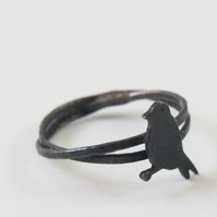 Goldfinch Ring Oxidised Silver