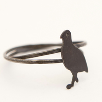 Red Legged Partridge Ring Oxidised Silver