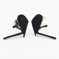 Long Tailed Tit Oxidised Silver Stud Earrings