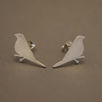 Mistle Thrush Silver Stud Earrings