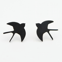 Flying Swallow Oxidised Silver Stud Earrings