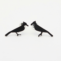 Cormorant Oxidised Silver Stud Earrings