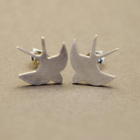 Flying Swallow Silver Stud Earring