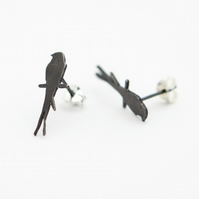 Swallow Oxidised Silver Stud Earrings