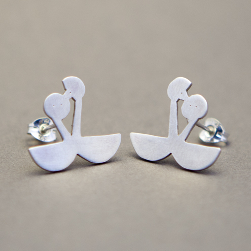 Great Crested Grebes Silver Stud Earrings