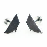 Nuthatch Oxidised Silver Stud Earrings