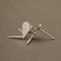 Long Tailed Tit Silver Stud Earrings