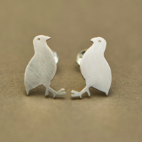 Red Legged Partridge Silver Stud Earrings