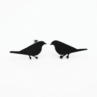 Mistle Thrush Oxidised Silver Stud Earrings