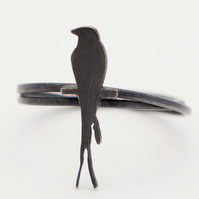 Swallow Ring Oxidised Silver