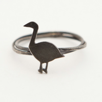 Greylag Goose Ring Oxidised Silver