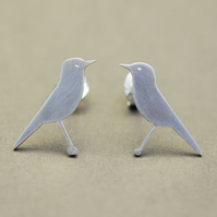 Bluethroat Bird Silver Stud Earrings