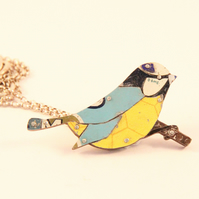 Blue Tit Tin Necklace