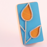 Formica Leaf Brooch Orange
