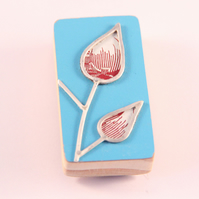 Formica Leaf Brooch Red and White