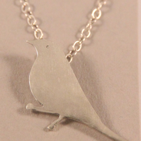 Silver Necklace Mistle Thrush