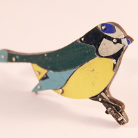 Blue Tit Tin Brooch