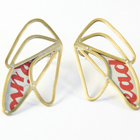 Medium Brass Abstract Wing White and Red Stud