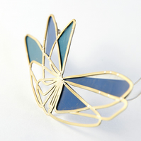Brass Abstract Wing Blue and Green Tin Brooch