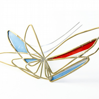 Brass Abstract Wing Red and Blue Tin Brooch