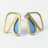 Small Brass Abstract Wing Blue Stud