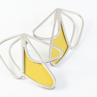 Medium Silver Abstract Wing Yellow Stud