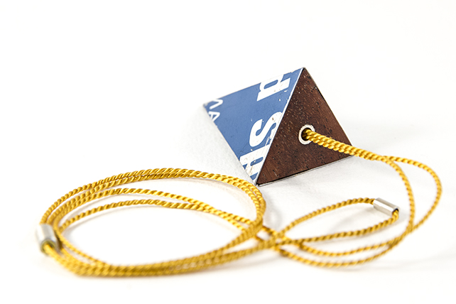 Pyramid Blue Tin Necklace