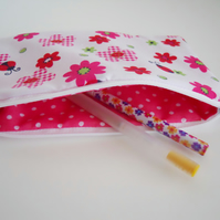 Pink Flowers and Ladybirds - Pencil case