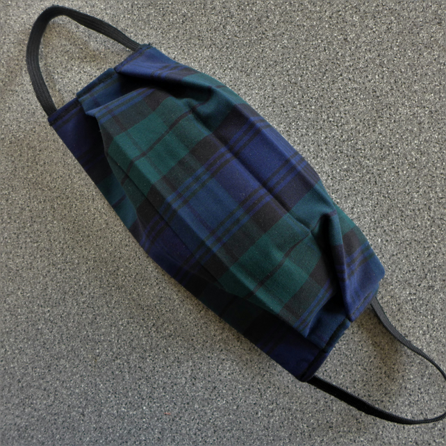 Cotton Face Mask. Black Watch Tartan.. 3 Layers. Washable